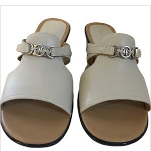 Clarks Grey sandals with silver buckles - …